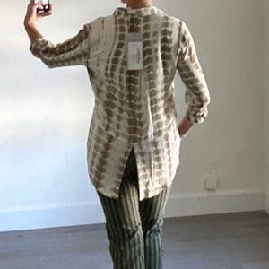 Velvet Heart Riley Olive Bamboo Tie Dye Shirt S